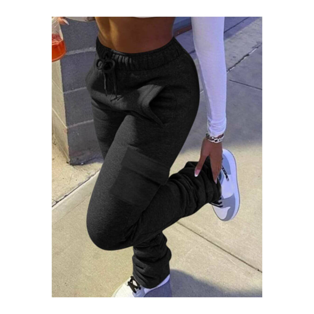 Black Stacked Cargo Joggers