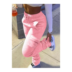 Pink Stacked Cargo Joggers