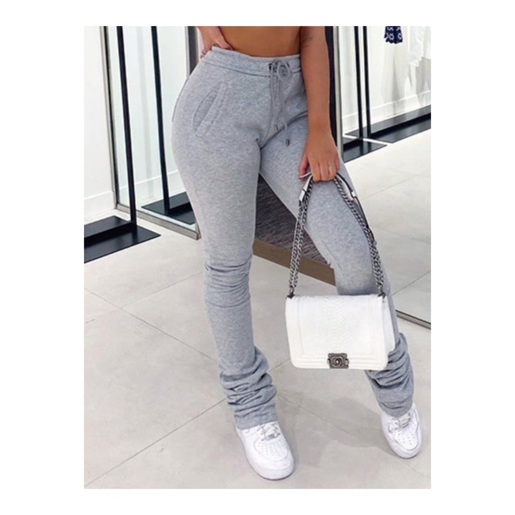 Gray Stacked Joggers