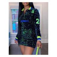 Green / Black Glitz Mini Dress