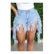 Blue Denim Asymmetrical Tassel Shorts