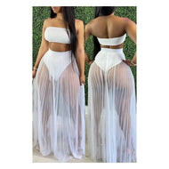 "White ""Cover Up"" Maxi Skirt Set"