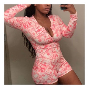 Pink Money Print Onesie