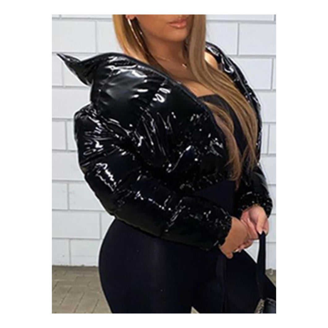 "Black ""Shiny Puffer"" Crop Jacket"