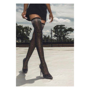 Rhinestone Thigh High Sock Boots