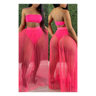 "Pink ""Cover Up"" Maxi Skirt Set"