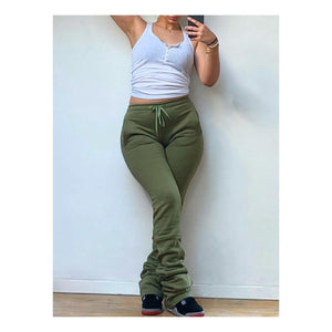 Olive Green Stacked Joggers
