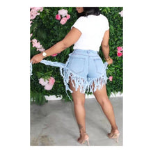 Load image into Gallery viewer, Blue Denim Asymmetrical Tassel Shorts