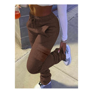 Coffee Stacked Cargo Joggers
