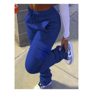 Royal Blue Stacked Cargo Joggers