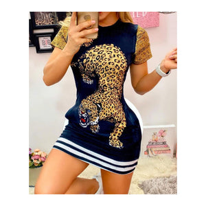 "Navy Blue ""Tiger"" Mini Dress"