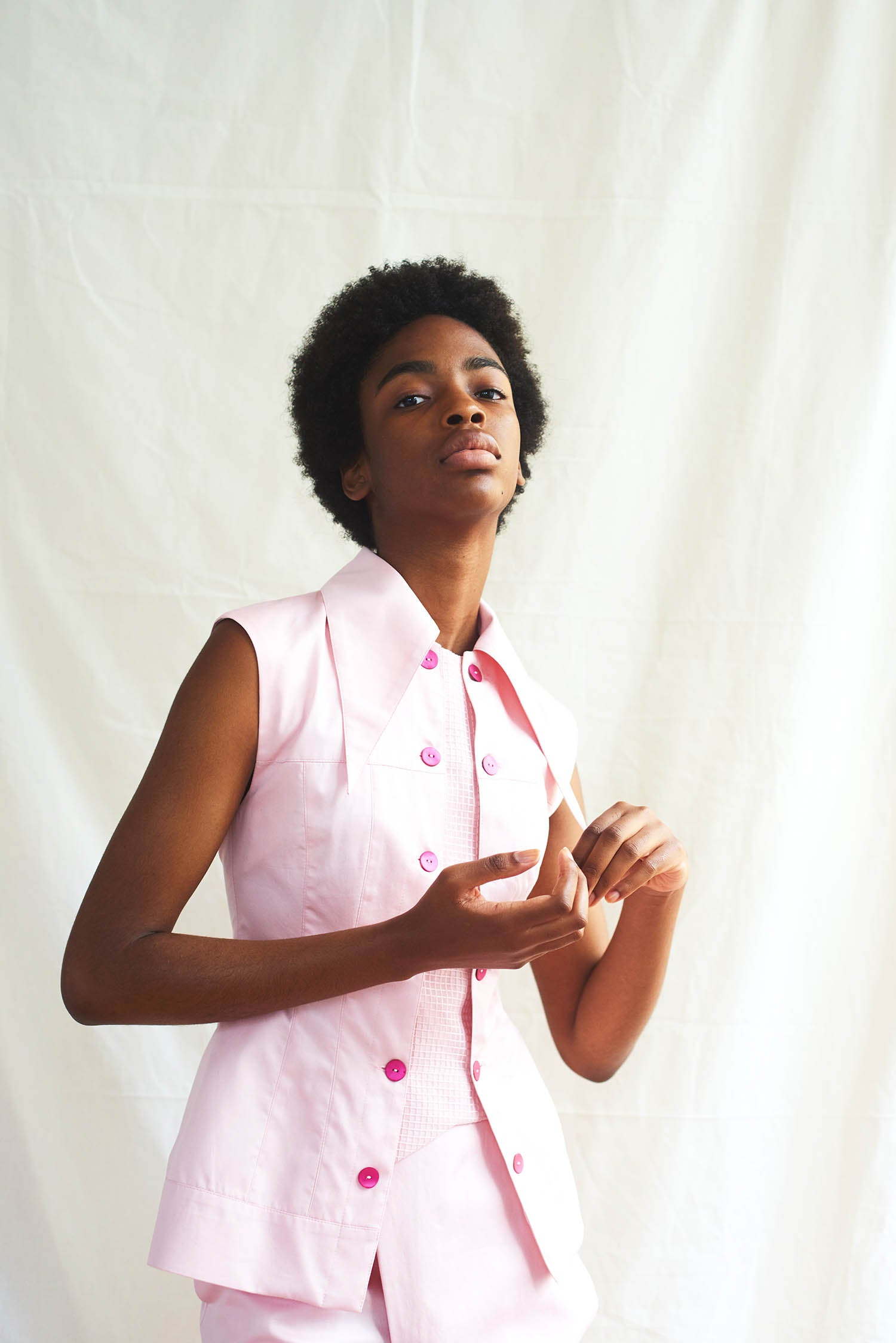 Lijadu Vest Cotton Pink