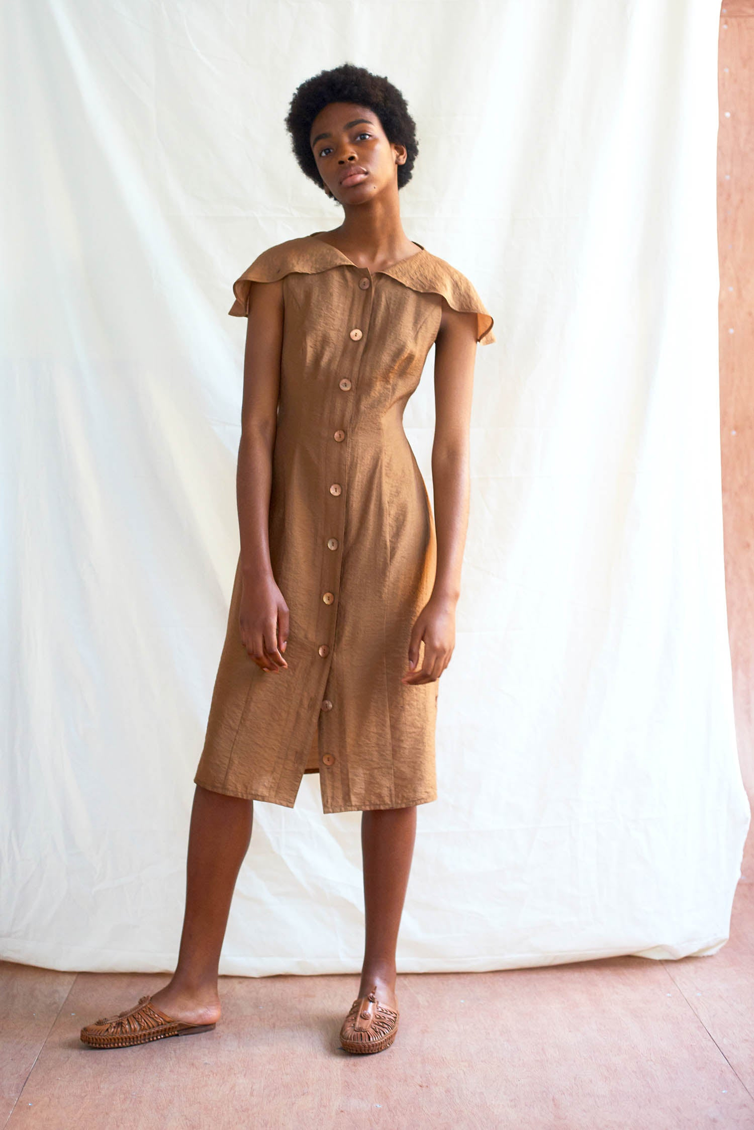 Frances Dress Bronze Chambray