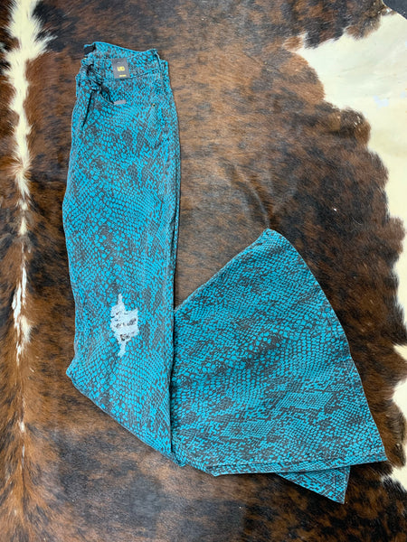 L&B Teal Snake with Silver Sequins Knee Patch Bell Bottoms