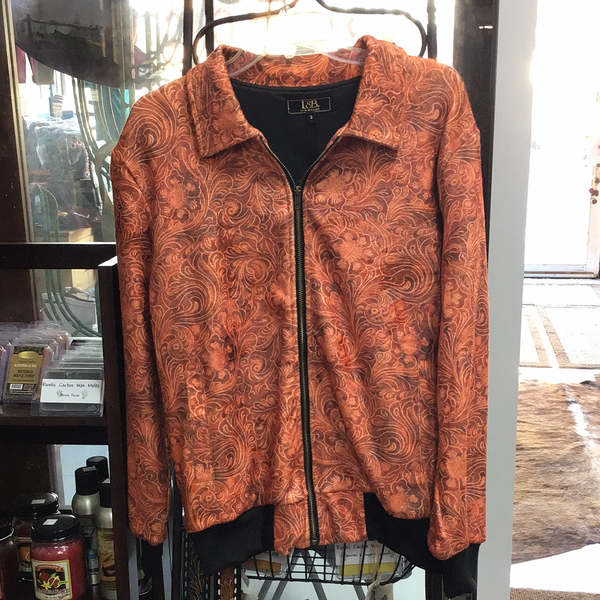 L&B Brown Tooled Leather Print Jacket