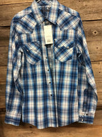 Cinch Blue Plaid Pearl Snap Modern Fit