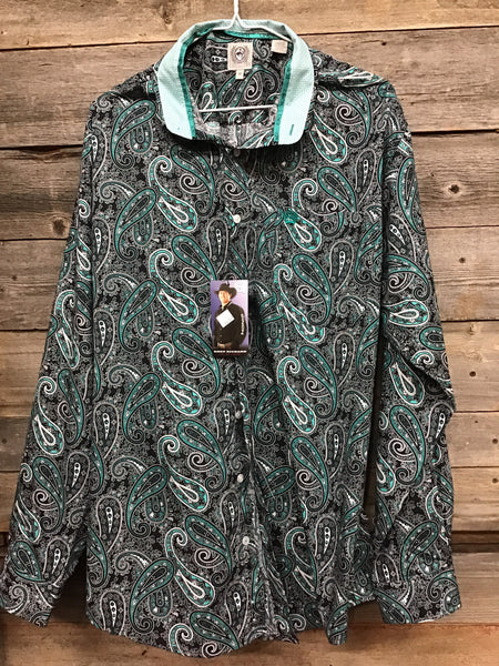 Men's Cinch Blue Paisley Button Up Western shirt