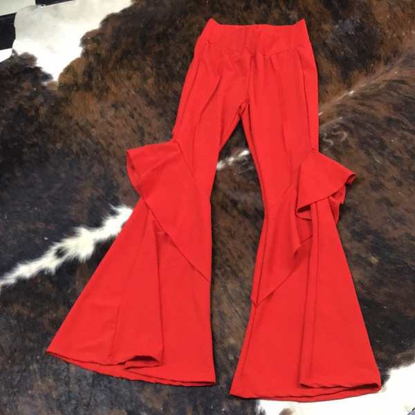 Red L&B flare bottom pants