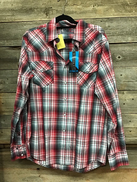 Cinch Red Plaid Pearl Snap Modern Fit