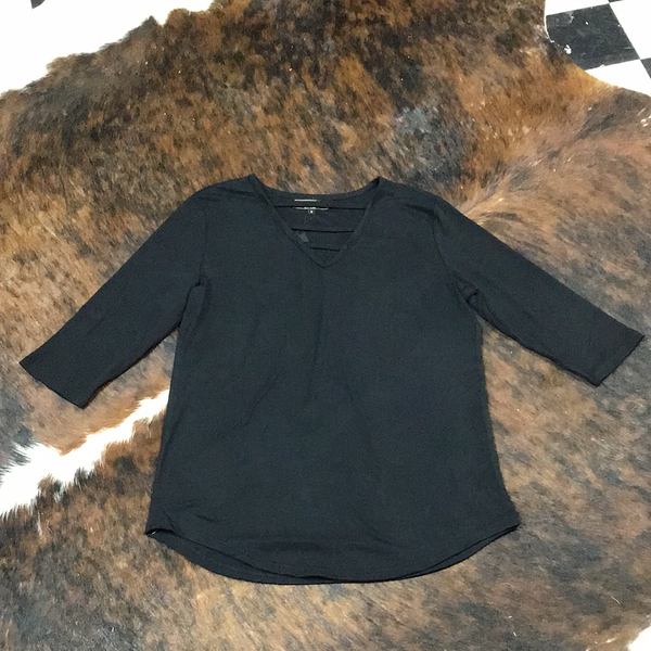 L&B Black 3/4 Sleeve Criss Cross
