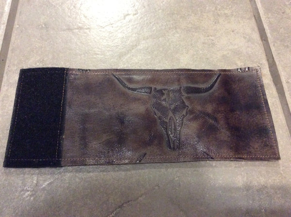 Leather/Hide Koozie - Longhorn Skull