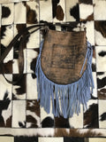 Cowhide with Blue Fringe Crossbody