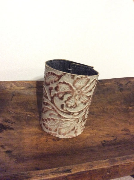 Leather/Hide Koozie - Metallic Floral