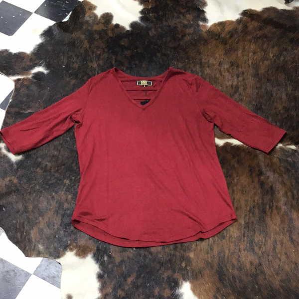 L&B Burgundy 3/4 Sleeve Criss Cross