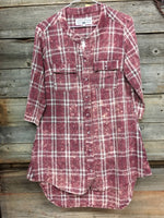 Crazy Train Maroon Distressd Plaid Flannel