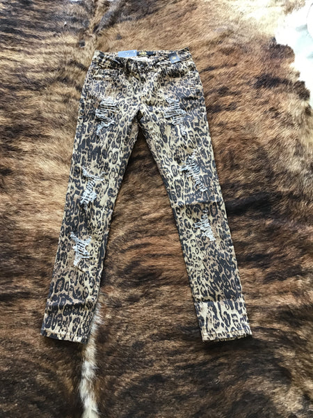 Cheetah Distressed Skinny Jeans