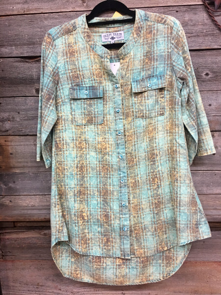 Crazy Train Distressed Turquoise Plaid Flannel