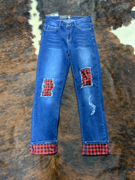 L&B Boyfriend Jeans with Plaid Patches