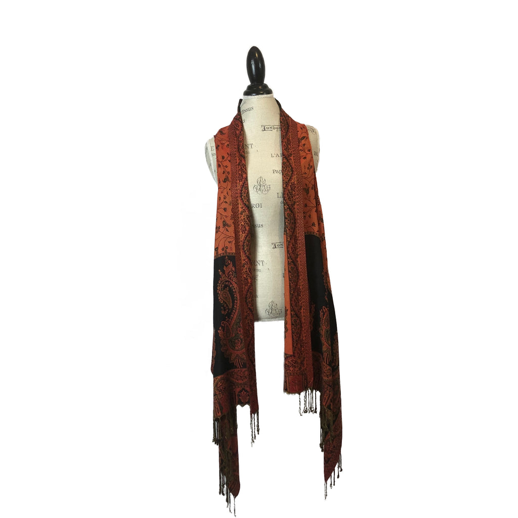 Burnt Orange and Black Silk/Cashmere vest