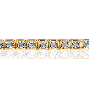 1/2 CT TW DIAMOND YELLOW GOLD-PLATED STERLING SILVER TENNIS BRACELET