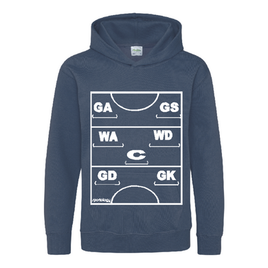 Netball Definitions Junior Hoodie in Airforce Blue