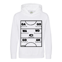 Load image into Gallery viewer, Netball Definitions Junior Hoodie in White