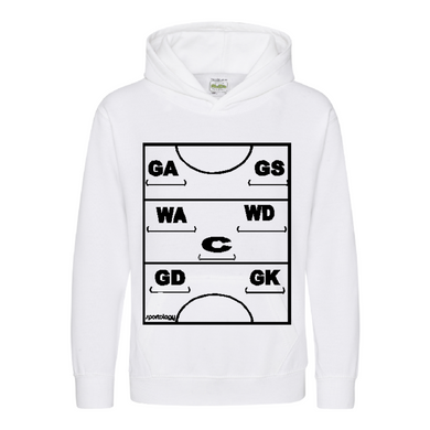 Netball Definitions Junior Hoodie in White