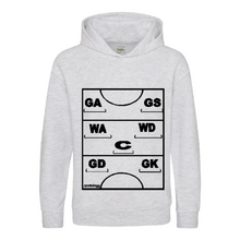 Load image into Gallery viewer, Netball Definitions Junior Hoodie in Ash Grey