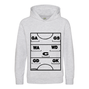 Netball Definitions Junior Hoodie in Ash Grey