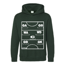 Load image into Gallery viewer, Netball Definitions Junior Hoodie in Bottle Green