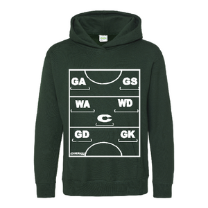 Netball Definitions Junior Hoodie in Bottle Green
