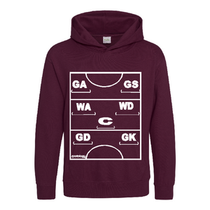 Netball Definitions Junior Hoodie in Burgundy