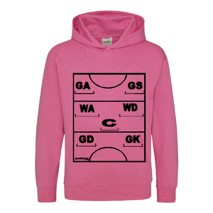 Netball Definitions Junior Hoodie in Candy Floss