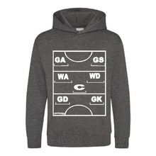 Load image into Gallery viewer, Netball Definitions Junior Hoodie in Charcol