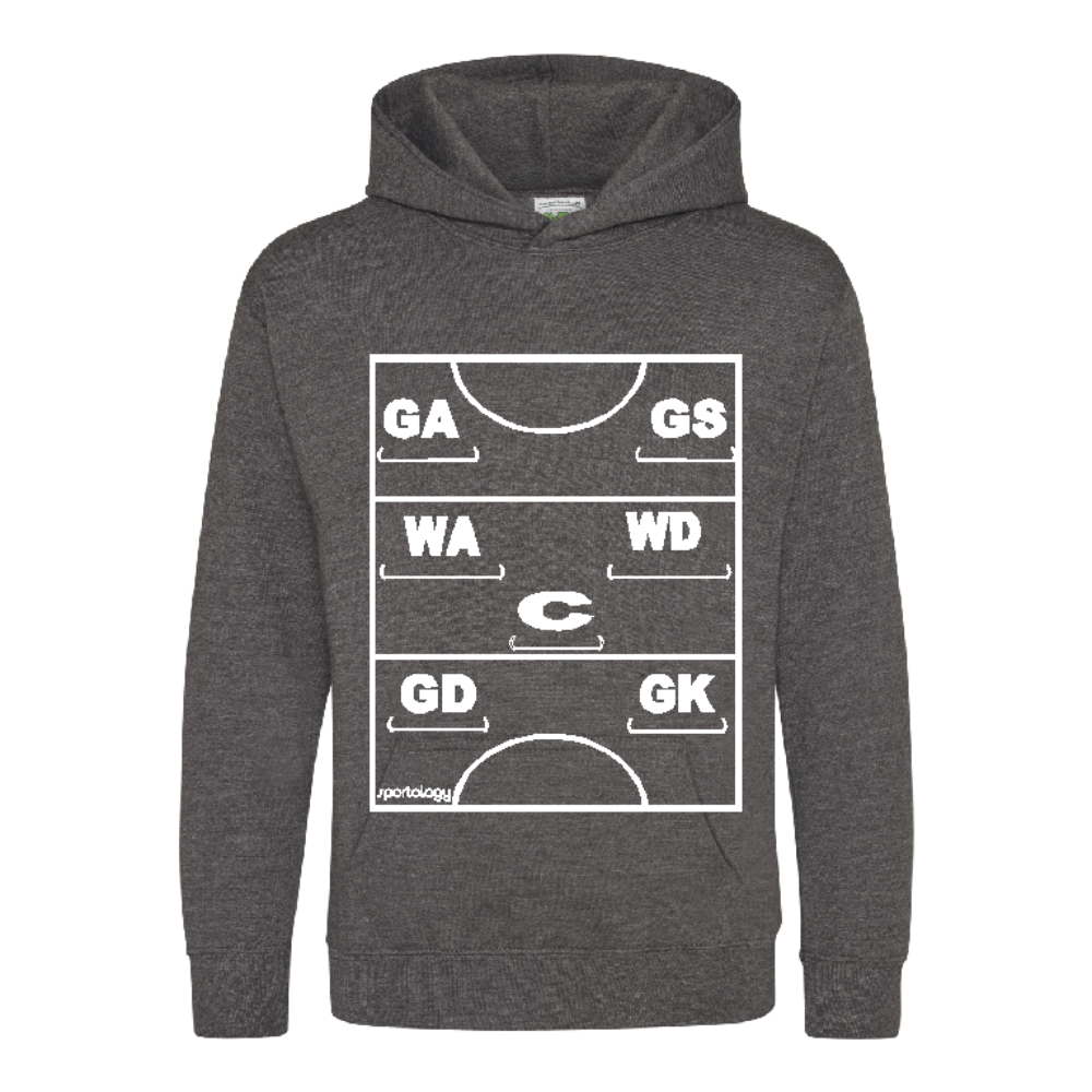 Netball Definitions Junior Hoodie in Charcol