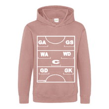 Load image into Gallery viewer, Netball Definitions Junior Hoodie in Dusty Pink