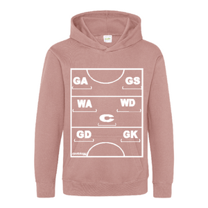 Netball Definitions Junior Hoodie in Dusty Pink