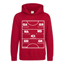 Load image into Gallery viewer, Netball Definitions Junior Hoodie in Fire Red