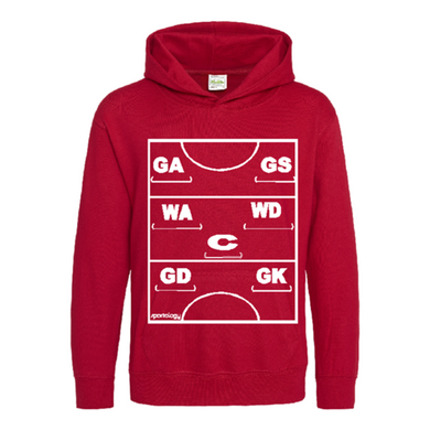 Netball Definitions Junior Hoodie in Fire Red