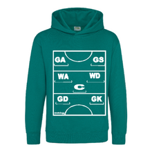 Load image into Gallery viewer, Netball Definitions Junior Hoodie in Forest Green